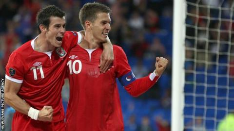 Gareth Bale and Aaron Ramsey in action for Wales