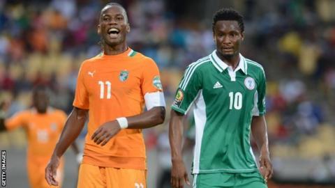 Ivory Coast's Didier Drogba and Nigeria's John Mikel Obi
