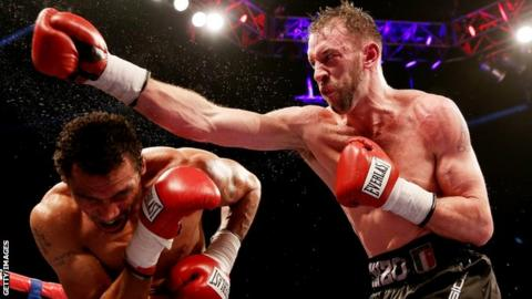 Enzo Maccarinelli on the attack in his fight against Courtney Fry