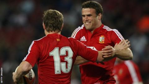 Jamie Roberts and Brian O'Driscoll in action for the British and Irish Lions