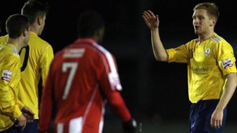 Mike Grogan celebrates his goal for Telford at Moss Lane