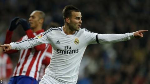 Jese celebrates his goal against Atletico Madrid