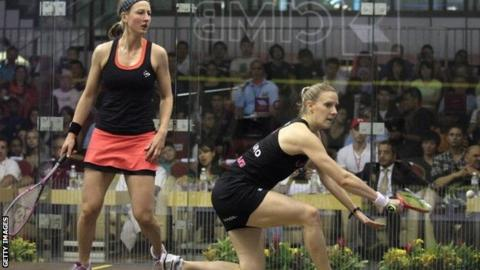 Laura Massaro of England (R) hits a return against compatriot Alison Waters