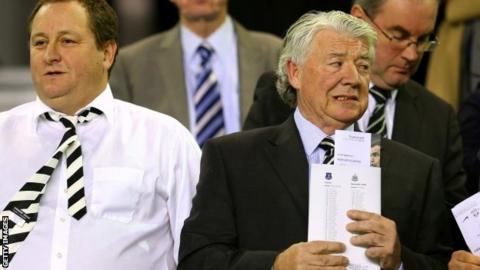 Newcastle United owner Mike Ashley (left) and director of football Joe Kinnear