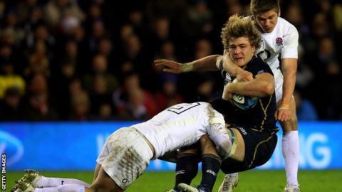 David Denton tackled in a Calcutta Cup match