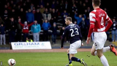 Martin Boyle scores for Dundee against Hamilton