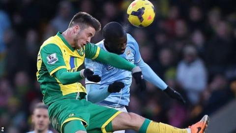 Manchester City midfielder Yaya Toure (right) and Norwich striker Ricky van Wolfswinkel go up for a header in the 0-0 draw between the two sides at Carrow Road