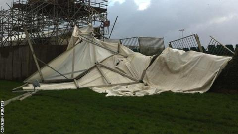 Damage to the stand at Mennaye Field