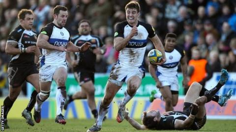 Ollie Devoto scorches through to score Bath's first try