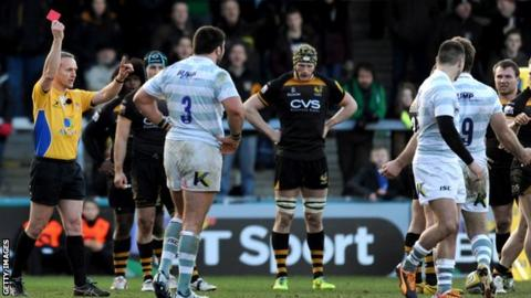 London Irish's Tomas O'Leary is sent off for stamping