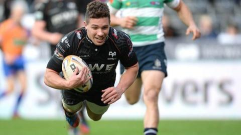 Scrum-half Rhys Webb also goes over for a first-half Ospreys try