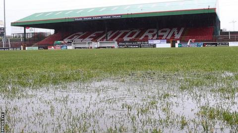 Waterlogged pitch at the Oval