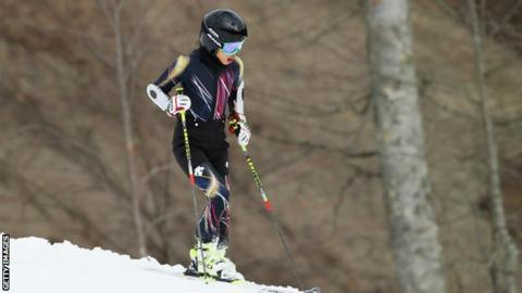 Vanessa Mae of Thailand attends the Alpine Skiing Women's Super Combined Downhill on day 3 of the Sochi 2014 Winter Olympics at Rosa Khutor Alpine Center on February