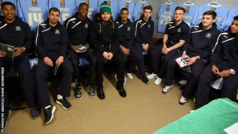 Chris Wood (with hat on) with the Argyle team