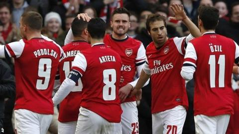 Arsenal celebrate their first goal in the FA Cup win against Liverpool