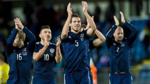 Scotland players celebrate victory in Norway