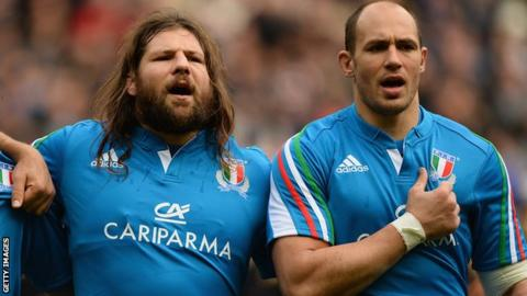 Captain Sergio Parisse (right) and Martin Castrogiovanni will each make a record-breaking 104th appearance for Italy