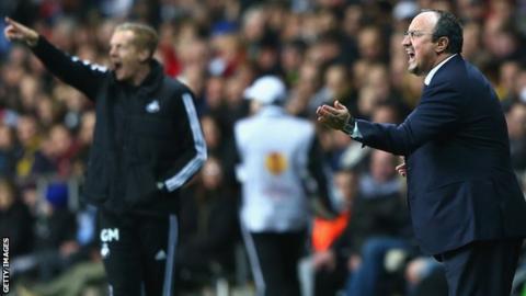 Swansea boss Garry Monk and Napoli boss Rafa Benitez