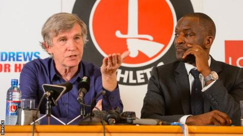 Charlton Athletic owner Roland Duchatelet and Charlton manager Chris Powell