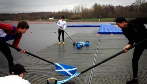 The Scottish rowing team show they've been inspired by their countrymen