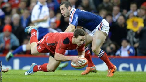 George North, starting at centre, gives Wales a perfect start with an early try in the Six Nations clash against France at the Millennium Stadium.