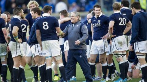 Scotland celebrate at the final whistle after beating Italy 21-20