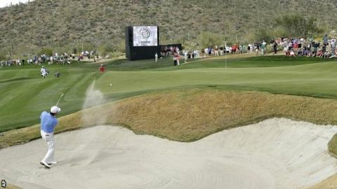 Graeme McDowell in quarter-final action at the WGC Match Play at Dove Mountain