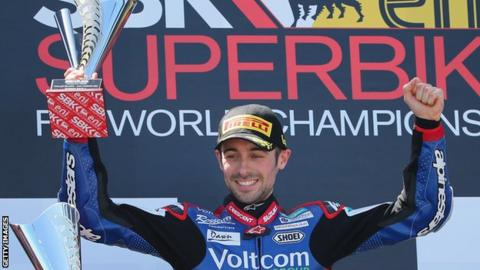 Eugene Laverty celebrates after his win in Australia