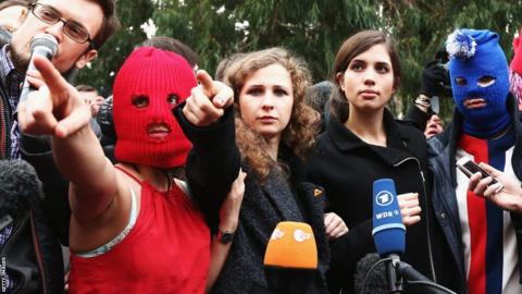 Members of protest group Pussy Riot speak during a press conference on February 20, 2014 in Sochi, Russia.