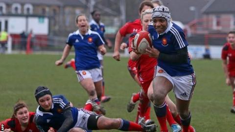 France Women fly-half Sandrine Agricole scores one of their four tries in a 27-0 win over Wales Women in the Six Nations at Talbot Athletic Ground