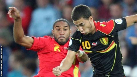 Wales' Ashley Williams and Eden Hazard of Belgium
