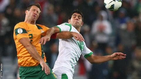 Lucas Neil playing for Australia against Iraq