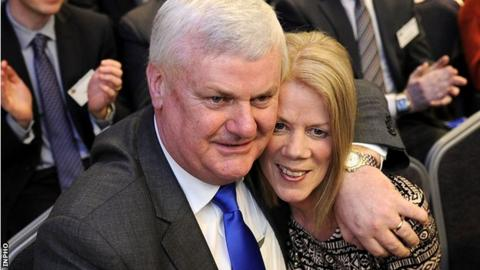 Aogán Ó Fearghaíl with his wife Frances after being voted in as GAA Presidental-elect