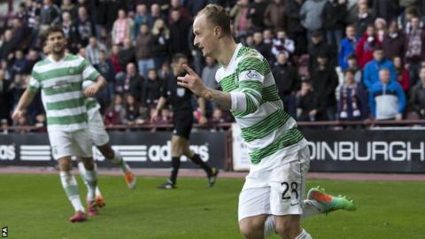 Celtic striker Leigh Griffiths celebrates scoring against Hearts