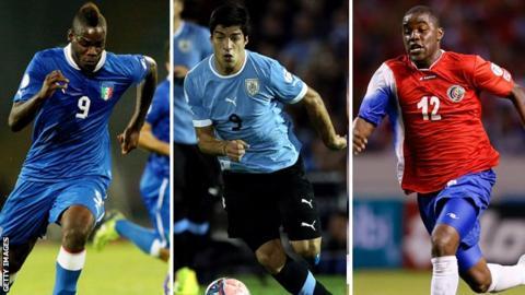 Mario Balotelli, Luis Suarez and Joel Campbell