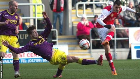 Rotherham's Haris Vuckic scores the second of his two goals against Notts County