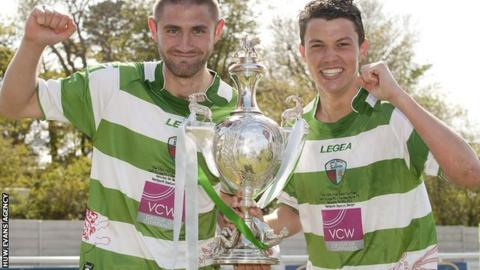 TNS players celebrate winning the 2012 Welsh Cup
