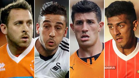Blackpool striker Michael Chopra (left), Swansea left-back Neil Taylor (second left), Wolves centre-back Danny Batth (second right) and Walsall left-back Malvind Benning (right)