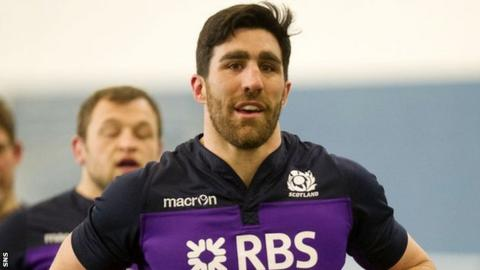 Kelly Brown trains with Scotland