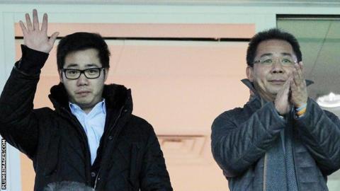 Leicester City vice-chairman Aiyawatt Srivaddhanaprabha (left) and chairman Vichai Srivaddhanaprabha
