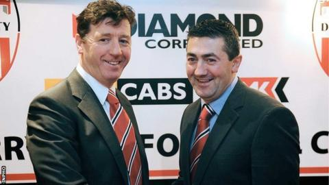 Derry City manager Roddy Collins and assistant Peter Hutton