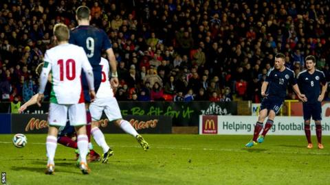 Callum McGregor scores for Scotland Under-21s against Hungary Under-21s