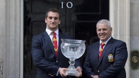 Sam Warburton and Warren Gatland outside No 10 Downing St in 2013
