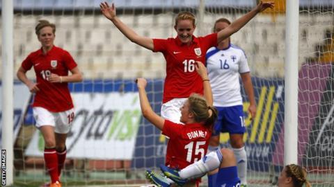 England women celebrate scoring against Finland women