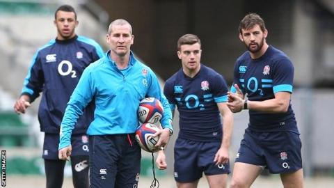 England coach Stuart Lancaster leads a training session at Twickenham
