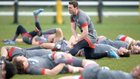 George North stands out from the Wales crowd as they finalise preparations for Sunday's Six Nations clash against England