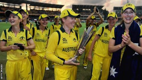Australia with the Women's World Twenty20 trophy in 2012