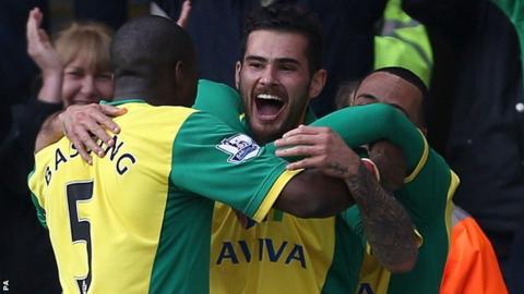 Bradley Johnson celebrates his goal against Stoke