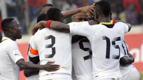 Ghana players celebrate during their play-off win over Egypt