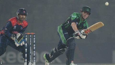 Ireland captain William Porterfield plays a shot against Nepal